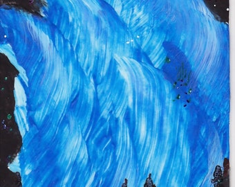 Original ACEO Collectible Alaska Painting Aurora Northern Lights Blue White acrylic and Ink Silhouettes Skyscape painting OOAK