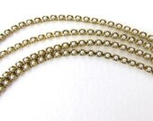 Vintage Faux Pearl Rhinestone Chain Tiny White Pearls Prong Set Brass 2mm chn0170 (1 foot)