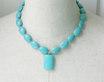 Turquoise Howlite Necklace Petite Chunky Blue