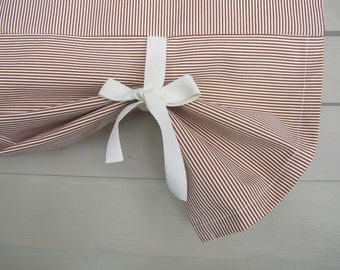 Red Stripes Window Valance Drop Shade with Ties Tie Up Curtain Swag Balloon Modern Farmhouse Simplicity Simple Small Window
