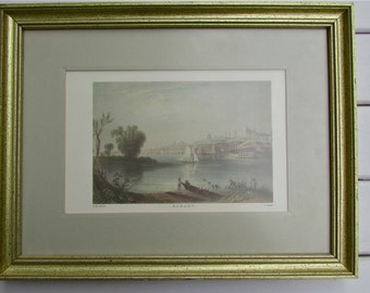 NEW YORK Albany WH Bartlett, antique Steel engraving by C Cousen, Hand colored