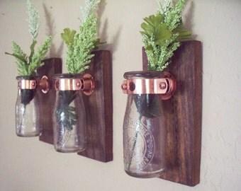 Milk bottle wall decor trio (3), kitchen decor, country decor, wedding gift, rustic decor, housewarming gift.