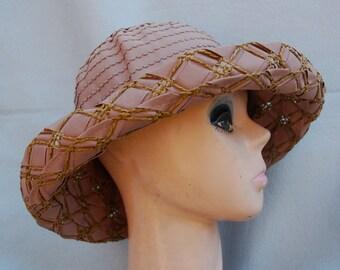 Brown Ribbon Straw Sun Hat / Chocolate Brown Brim Hat / Ribbon Sun Hat / Womens Kettle Brim Summer Hat