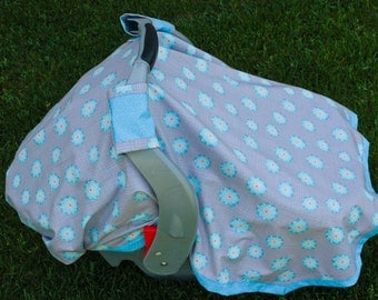 Gray and Blue Floral Car Seat Blanket (Car Seat Canopy with Elastic)