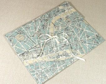 Lingerie Bag, Paris, Map fabric, Duck Egg Blue, Travel, Undies