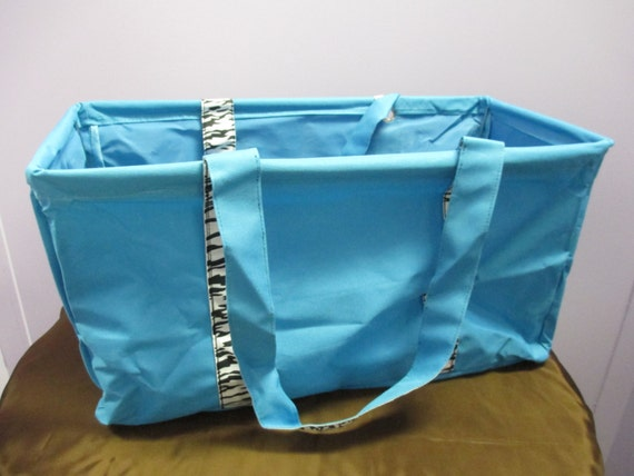 Market Tote Personalized Turquoise with Zebra Accent *ON SALE*