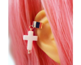 Pastel Goth Cross Cartilage Earring Cuff Pastel Cross Post Earring Ear Cuff Creepy Cute Jewelry Pick A Color Lilac White