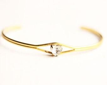 Tiny Crystal Heart Bracelet