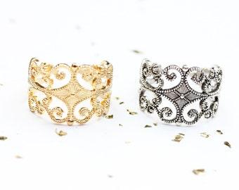 Filigree Band Ring, Adjustable Filigree Ring, Scroll Ring, Adjustable Band Ring, Gold Band Ring, Silver Band Ring, Gold Filigree Ring