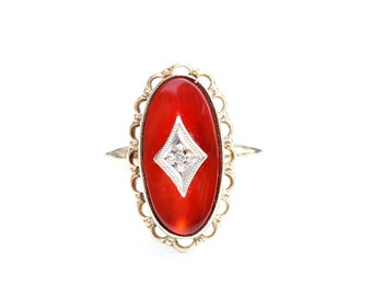 Carnelian Gold Ring, 10K Gold Ring, Orange Gold Ring, Diamond Ring, Gold Ring Size 5.5, Oval Carnelian Ring