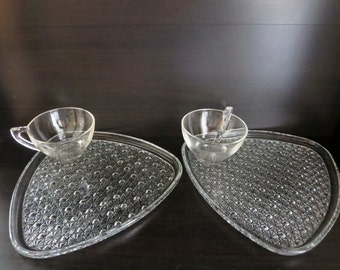 Vintage Glass Snack Plates with Cups - Set of Four Depression Glass Snack plates in Daisy and Button Pattern