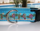 Dog Collar, Beach Cabana- In M - L - XL Plastic or Metal Side Release Buckle - Choice of Webbing Color
