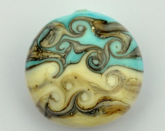 Twisted pattern Pale Blue and Ivory Glass lampwork Lentil Shaped Bead SRA