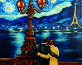 Art Greeting Card, van Gogh Starry Starry Night Paris, Lovers at Night on Bridge Eiffel Tower from Original Oil Painting