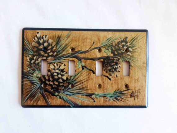 4 Switch Wood Switch Plate Pine Cone Design