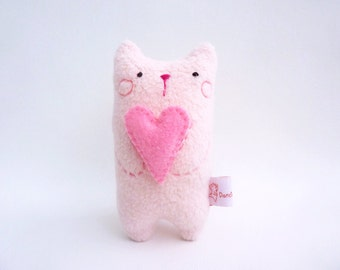 Cat art doll, cute cat doll, baby shower gift, mothers day gift, cat mom gift, cat decor, pink desk toy cat, small stuffed cat - Mimi