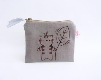 Grey Purse, Cat Wallet, Cute Pouch, Cat Coin Purse, Cat Zipper Pouch, Coin Purse, Cat Purse - Illustrated Cat