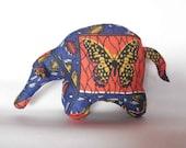 Aardvark African ethnic wax fabric blue orange butterfly stuffed standing handmade toy soft sculpture