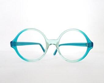 NOS Vintage 60s 70s Teal Fade Round Eyeglasses Frame. Green Blue Fade Windsor Circular Glasses or Sunglasses MCM. Mid Century Modern.