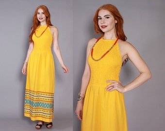 70s GUATEMALAN Embroidered Sun DRESS / 1970s Gold Cotton Bohemian Smocked Halter Dress