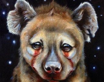 Hyena night sky painting