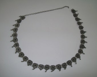 Silver Chain Belt Black Stones India Dangle Style