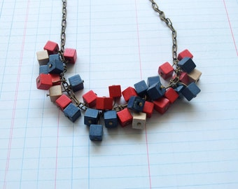 Minimalist Cubes Blue and Red Necklace Handmade