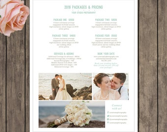Wedding Photographer 8.5x11 Packages and Pricing Sheet Template, Photography Marketing Template - INSTANT DOWNLOAD