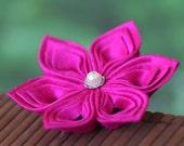 Hot pink brooch, silk flower pin, Japanese, fabric, tsumami kanzashi, fuchsia, bright, Oriental, Asian, bridal, wedding, boutonniere