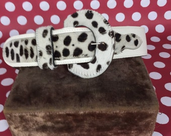 Belt- Black and White Cowhide