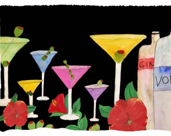 Martini Bar Beach,Bath or Hand Towel from my art