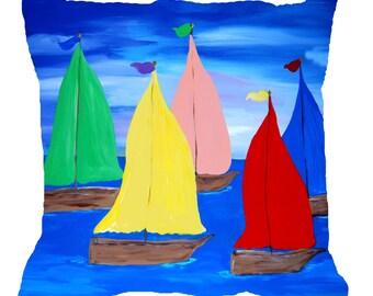 Sailboats Nautical Beach coastal tropical art throw pillow  with insert