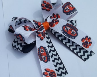 Orange navy sport team hair bow for girls and baby