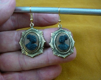 RARE African American LADY black + brown CAMEO octagon shaped brass dangle Earrings jewelry (CAE1-8)