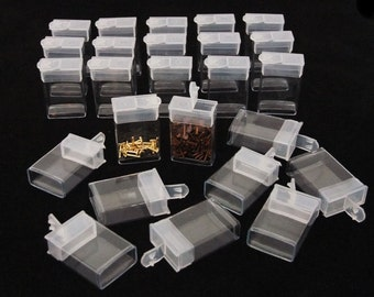 "Rectangle Clear Plastic Storage Tubes With Flip Tops 1.5"" Pack of 100"
