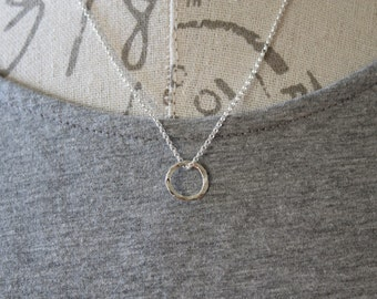 Sterling Silver Circle Necklace, Karma Necklace, Sterling Silver Karma Necklace, Sterling Silver Jewelry, Sterling Silver circle Necklace