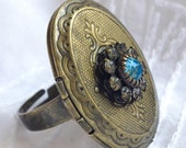 Clear and Blue Swarovski Crystal Bronze Locket Ring