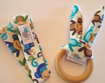 Organic Teether | Baby Teether | Bunny Teething Ring and Toy Strap COMBO: Monkeys Royal
