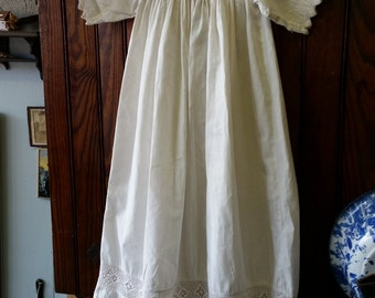 SALE - Antique Victorian Muslin Christening Dress With Old Lace from Rustysecrets