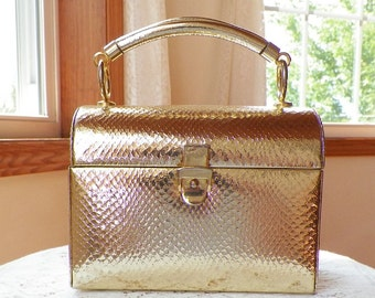 Vintage Retro Classy Metallic Gold / Golden Lunchbox Style Purse / Handbag, Snake Pattern, Evening / Wedding, Buckle Snap Clasp, Hong Kong