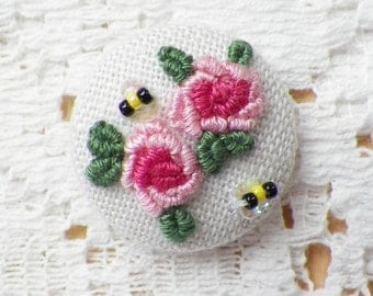 Handmade Embroidered Pink Roses Button / Embellishment / Embroidery with Glass Bead Bumblebees / Bees with Iridescent Sequin Wings, Shabby
