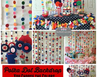 Nautical Baby Shower Decorations Red White and Blue Party Decorations. Polka Dot Backdrop for candy buffet or dessert tablr