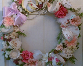 Antique Teacup, Lace and Pearl Front Door Wreath