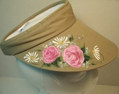 Women's Biege Sports Visor with Pink Roses and White Daisies