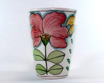 Springtime Floral Ceramic Mug, Handpainted Porcelain Mug, Coffee Tall Latte Mug SKU156-03