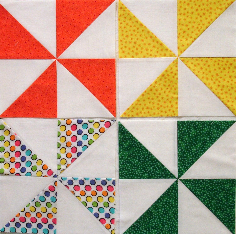 Polka Dotted Pinwheel Quilt Blocks