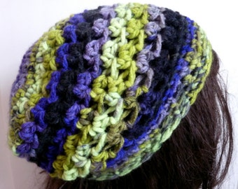 Crochet Slouchy Hat in Lime Green, Purple, Black for Teens and Women, Beanie