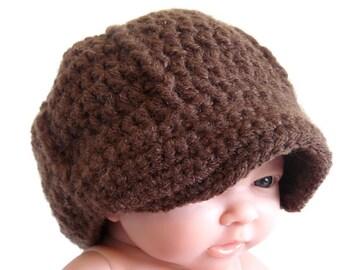 Crochet Newsboy Hat for Baby in Brown, Newborn, Infant