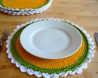 Rustic Place Mats - Camomile Placemats - Flower Place Mats - Country Western Decor - Wedding Gift - Set of 4 - Flower Table Decor