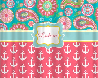Personalized Designer Gypsy Paisley & Anchors Shower Curtain -Turquoise, Pink, Coral, White, Lime and Yellow
